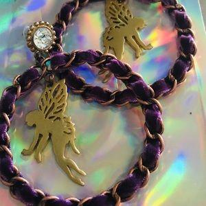 Purple gypsy velvet hoop fairy earrings Betsey j